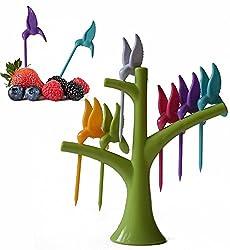 9e Mart Plastic Fruit Fork Set, 6-Pieces with Stand, Multicolour