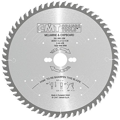CMT Orange Tools 281,060,10 m scie circulaire 250 x 30 x 3,2 z 10 degrés silencieux 60 tcg