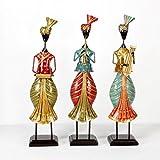 Universal Art Traditional Handpainted Musician Set Of 3. 4.5x4.5x20 Inch