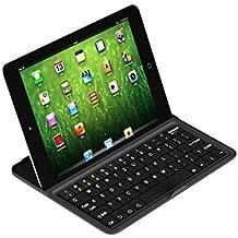 Ledeli de aluminio ultra slim Wireless Bluetooth QWERTZ Alemán Disposición teclado Keyboard & Cover para iPad Mini 1234 negro