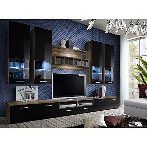 ASM Ensemble Meuble TV Mural - Dorade B - L 100 cm - 5 éléments - Prunieret Noir