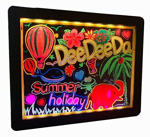 DEEDEEDA LED Educational Glow Art Tablero de Dibujo, borrable Iluminado Led Light Up Black Tablero de neón con Soporte, 18 Efecto Brillante con 6 marcadores Fluorescentes Amigos y familias.