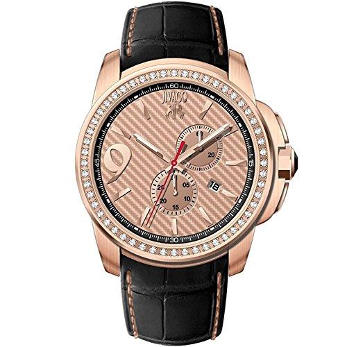 JIVAGO Men's GLIESE 43MM Leather Band Steel CASE Swiss Quartz Watch JV1535