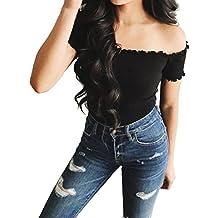 NINGSUN Camicetta Senza Spalline Sexy Senza Bretelle Manica Corta Tops Moda Off Shoulder Bodycon T-shirt da Donna Tinta Unita Crop Tops Fondo Balze Ruches Blouse