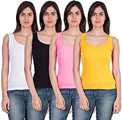 Combo of 4 Tank Top Vest Camisole Sando for Women White Black Pink Yellow Color Small Size