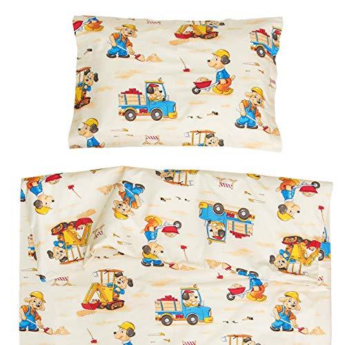 Chiens en camion et pelle bagger - Pati'Chou 100% Coton Linge de lit pour bébé (Taie d'oreiller et Housse de couette 100x140 cm)