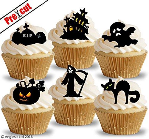 vorgeschnittenen Halloween Mix VI. Schwarze Katze Kürbis Castle Grave Ghost Death Reaper essbarem Reispapier/Waffel Papier Cupcake Kuchen Topper Halloween Gothic Party (Cupcakes Halloween Dekoration)