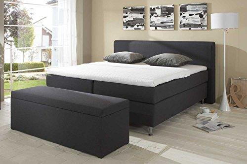 Möbelisten Designer Boxspringbett Cozy, Made in Germany, Tonnentaschenfederkern in der Box UND in der 7-Zonen Matratze, Visco Topper, Luxusbett, Hotelbett, Doppelbett, Anthrazit, H2/H3, 180x200cm