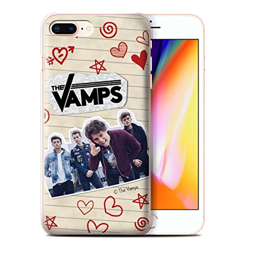 Offiziell The Vamps Hülle / Case für Apple iPhone 8 Plus / Mappe Muster / The Vamps Doodle Buch Kollektion Rot Stift