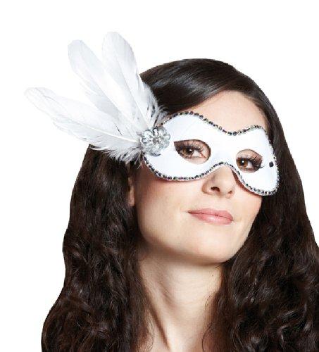 Rubie's Karneval Maske Domino mit Federn weiß zum Damen Kostüm an Fasching