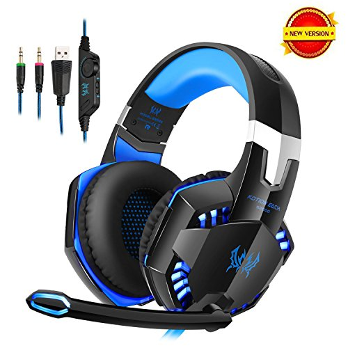DAPING Gaming Headset PC Over-Ear Kopfhörer Gaming mit Mikrofon Stereo Bass LED Light für Film Gaming Spielen Chat Musik Smartphone Tablet Mac PC