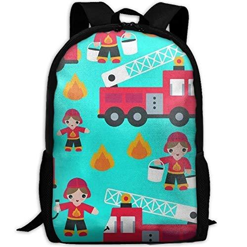 HOJJP Schultasche Cartoon Fireman Fire Truck Children's Backpack Little School Backpack for Girls Teens Bookbag Cute School Bag Set Water Resistant Travel Daypack (Cute Teen Girl)