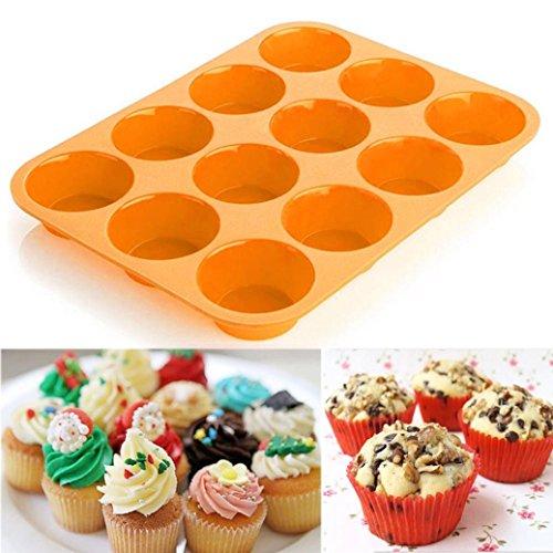 HKFV 12 Cup Silikon-Muffin-Kuchen-Backen-Wanne-nicht Stock-Spülmaschine-Mikrowellen-Safe Mauf Cup Kuchenform - Orange Mikrowelle