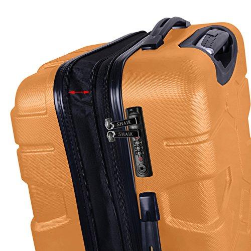 SHAIK® SERIE RAZZER SH002 3-tlg. DESIGN PMI Hartschalen Kofferset, Trolley, Koffer, Reisekoffer, 50/80/120 Liter, 4 Doppelrollen, 25% mehr Volumen durch Dehnfalte (Gelb, L - Mittelgroßer Koffer) - 3