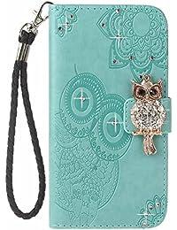 Funda Galaxy S9, COOSTOREEU 3D Glitter Gems Owl y mandala en relieve Premium PU Leather tarjeta de la ranura de magnético Flip Cartera ,Menta verde