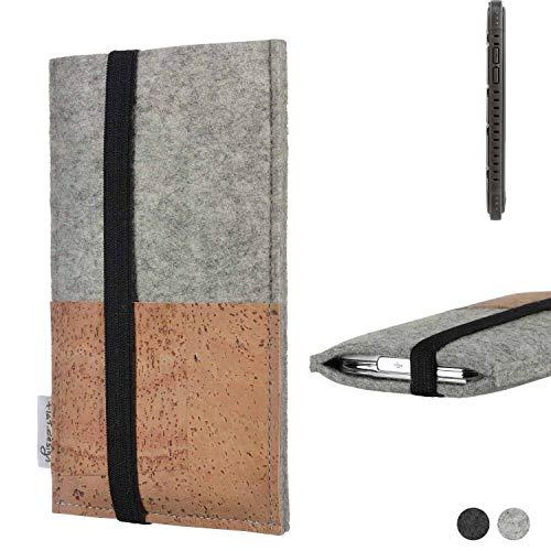 flat.design Handy Hülle Sintra für Cyrus CS 35 Handytasche Filz Tasche Schutz Kartenfach Case Kork