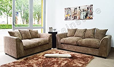 Dylan Byron Caramel Mink Fabric Jumbo Cord Sofa Settee Couch 3+2 Seater from Furniture Stop