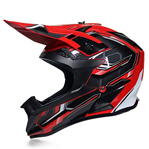 Casco da Motocross Uomo Nero e Rosso Casco Integrale MTB Enduro con Fodera Rimovibile, Casco Cross Adulto Professionale Casco Motociclista per Downhill Moto Offroad Scooter Sport,XL