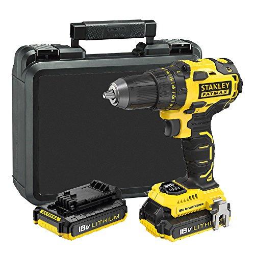 STANLEY FATMAX FMC607D2-QW - Taladro atornillador Brushless 18V con 2 baterías de litio 2.0Ah y maletín...