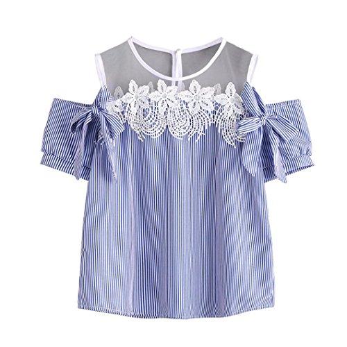 HARRYSTORE Damen Kurze Ärmel Aus Schulter Spitze Gestreift Bedruckt Bluse Beiläufiges Oberseiten T-Shirt (2XL, Blau) (Adorable Rüschen Top)