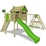 FATMOOSE Spielhaus auf Stelzen FunFactory Fit XXL Spielturm Kletterturm mit Surfanbau, Veranda, Schaukel und Rutsche