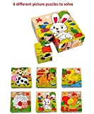 Happy GiftMart 9 Piece Colorful Wooden 3D Block Picture Puzzle For Toddlers, Baby And Small Children (Farm Animal)