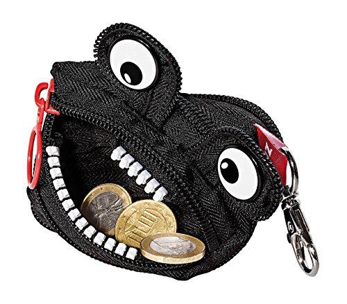 Wedo 2421138901 Geldbörse Monster (aus Polyester, Reißverschluss, Karabinerhaken, 9,5 x 8 x 1,8 cm) schwarz