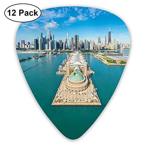 Guitar Picks12pcs Plectrum (0.46mm-0.96mm), Aerial Panorama Of Navy Pier Marine Metropolis Big City Silhouette View,For Your Guitar or Ukulele Panorama-marine