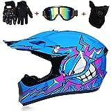 C-TK Erwachsener Motocross-Helm MX-Motorradhelm ATV-Roller ATV-Helm D.O.T Zertifizierter Rockstar Multicolor mit Goggles-Handschuhe,C,L(56~57cm)