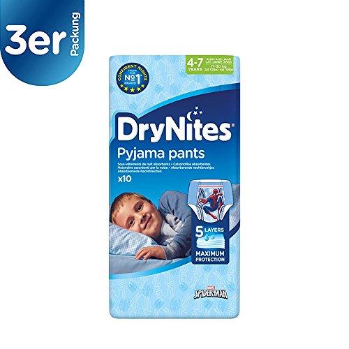 drynites maedchen Huggies DryNites Boy hochabsorbierende Pyjamahosen Unterhosen für Mädchen 4-7 Jahre 3er Pack (3 x 10 Stück)