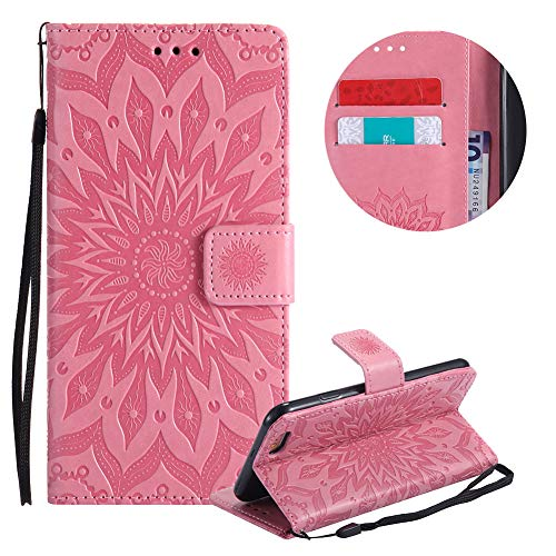 Gurt Brieftasche für iPhone 6S,Rosa Handyhülle für iPhone 6,Moiky Ziemlich Schöne Mandala Sonnenblume Geprägt Klappbar Kartenfächer Stoßdämpfende Ledertasche mit Stand
