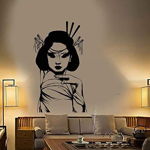 Japanische Geisha Mädchen Asiatischen Stil Frau Vinyl Wandtattoo Wohnkultur Schlafzimmer Kunstwand Wandaufkleber Abnehmbare 57 * 97 cm - Baldachin Möbel Schlafzimmer