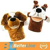 BETTERLINE Tier Handpuppen 2er Set - Premium Qualität, 24 cm Weicher Plüsch Handpuppen für Kinder - perfekt zum Geschichtenerzählen, Lehren, Vorschule, Rollenspiel (Zwei Hunde)