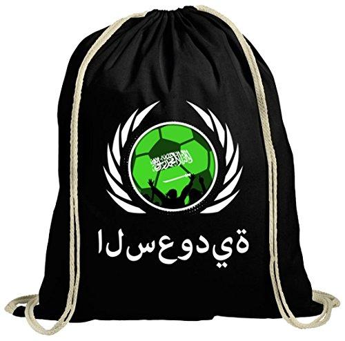 Wappen Soccer Fussball WM Fanfest Gruppen Fan natur Turnbeutel Gym Bag Fußball Saudi-Arabien schwarz natur