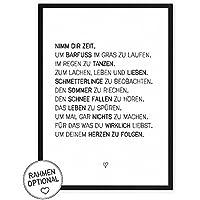 Nimm dir Zeit - einzigartiger Kunstdruck mit Spruch auf wunderbarem Hahnemühle Papier DIN A4 (optional A3 und A2) -ohne Rahmen- schwarz-weißes Wand-Bild Poster Fine-Art-Print zur Dekoration im Büro und Zuhause oder als Geschenk-Idee zum Geburtstag Hochzeit Umzug Einzug für Freundin Freunde Mutter Familie... Home Deko - Lebensweisheit Regeln für Zufriedenheit & Glück