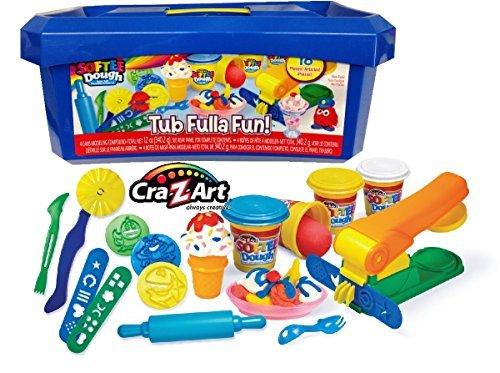 cra-z-art-softee-dough-super-soft-modeling-compound-tub-fulla-fun-18-piece-bucket-blue-by-unknown