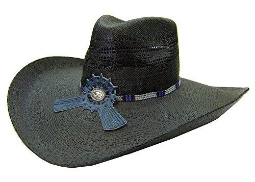 Modestone Large Brim Breezer Starburst Hatband Chapeaux Cowboy Black