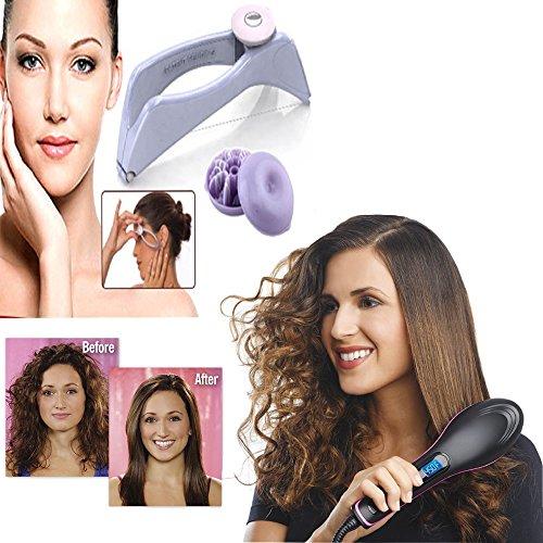 Vmoni Hair Straightener Brush And Slique hair Removal System kit Combo pack