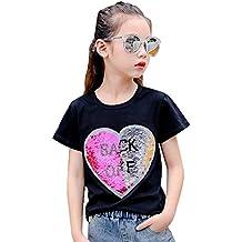 525dcdef2 Desigual Corazón Lentejuela Reversibles Camiseta Niña Moda Linda Tops ...