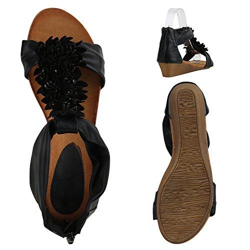 Damen Keilabsatz Sandalen | Riemchensandalen Strass | Sandaletten Wedges Glitzer | Blumen Metallic Flats | Sommerschuhe Schwarz Blumenschmuck