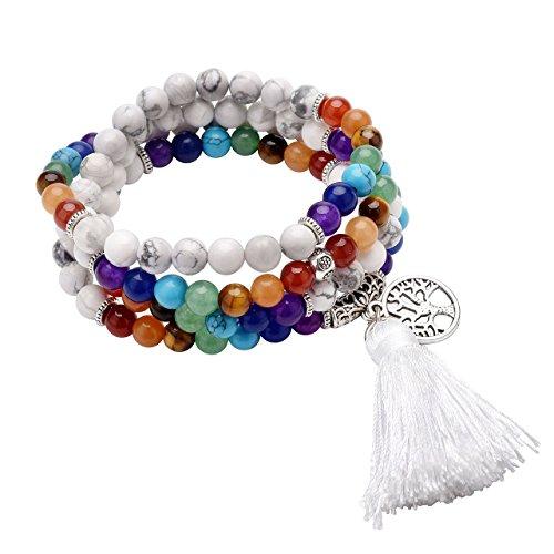 QGEM Schmuck 108 Perlen Edelstein Yoga Armband Chakra lebensbaum Buddha Buddhistische Tibetische Gebetskette Healing Reiki Mala Kette Halskette mit lebensbaum...