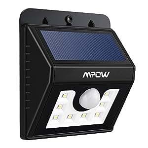 Mpow Luci Solari Lampada Wireless ad Energia Solare da Esterno con Sensore di Movimento, con 8 Lampadine LED, per Parete / Giardino / Cortile / Scale / Muro, con Funzione di Dusk to Dawn Dark Sensing Auto On / Off