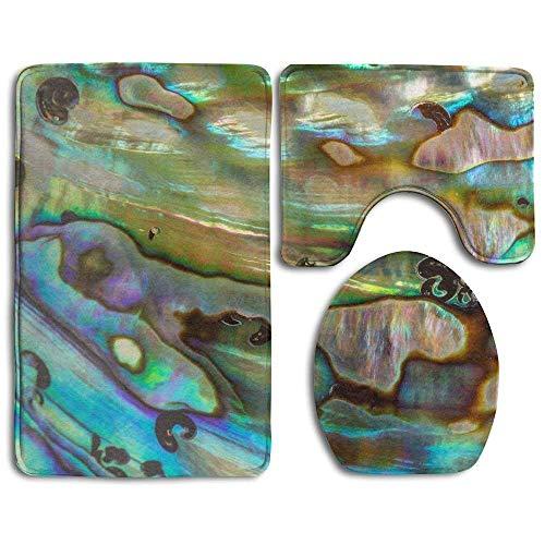 Hintergrund von blau-grün-violetten Abalone-Perlen-Muschel-Badezimmerteppichen, 3-teiliges Set ()
