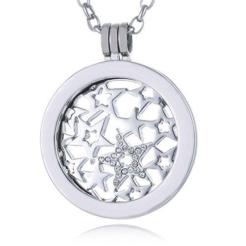 Morella Damen Halskette 70 cm Edelstahl mit Amulett und Coin 33 mm Sternenmuster silber in Schmuckbeutel