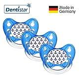 Dentistar Schnuller 3er Set- Nuckel Silikon in Größe 2, 6-14 Monate - zahnfreundlich & kiefergerecht - Beruhigungssauger für Babys - Blau Anker