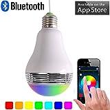 Swaroser télécommande Bluetooth Smart ampoule LED Lampe avec lecteur de musique de haut-parleur pour Home et de nuit de fête–Standard Douille E