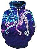 Loveternal 3D Sweat à Capuche Imprimé Octopus Hoodie à Manches Longues Polaire Pulls Sweathirt pour Adolescents Garçons Filles M