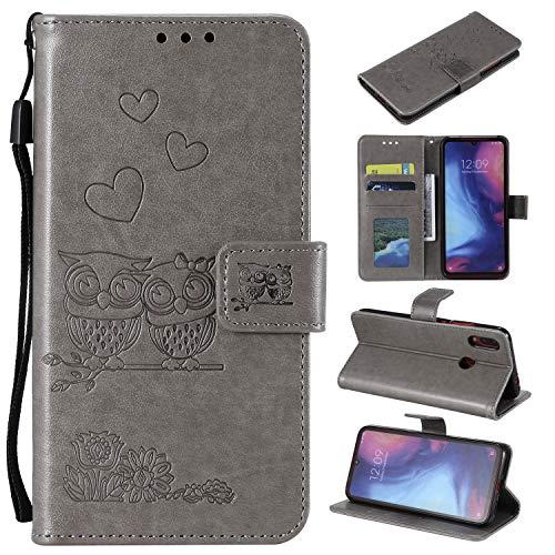MOONESS Funda Xiaomi Redmi Note 7,Gris PU Cuero Flip Folio Multi-ángulo búho Carcasa [Magnético] [Soporte Plegable] [Ranuras para Tarjetas] para Xiaomi Redmi Note 7 (O-Gris)