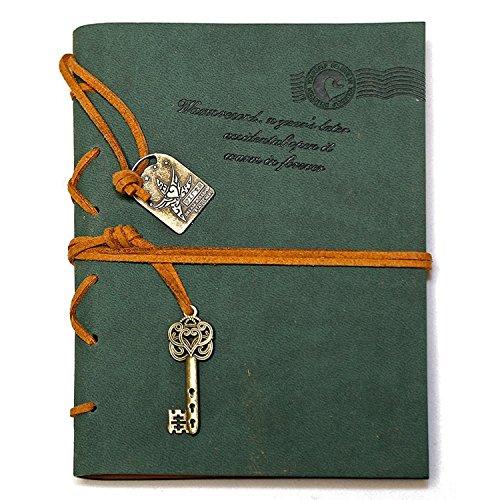 NectaRoy Retro Vintage Leather Cover Notizbuch Klassische Notepad Travel Journal Tagebuch Reisetagebuch Sketchbook Tagebuch Leere Seiten (105*142mm, Grün)