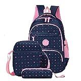 OOGUOSHENG Children School Bags Girls Backpack Kids Cartoon Princess School Backpack SetPrimary Schoolbag Student Bags,Blue